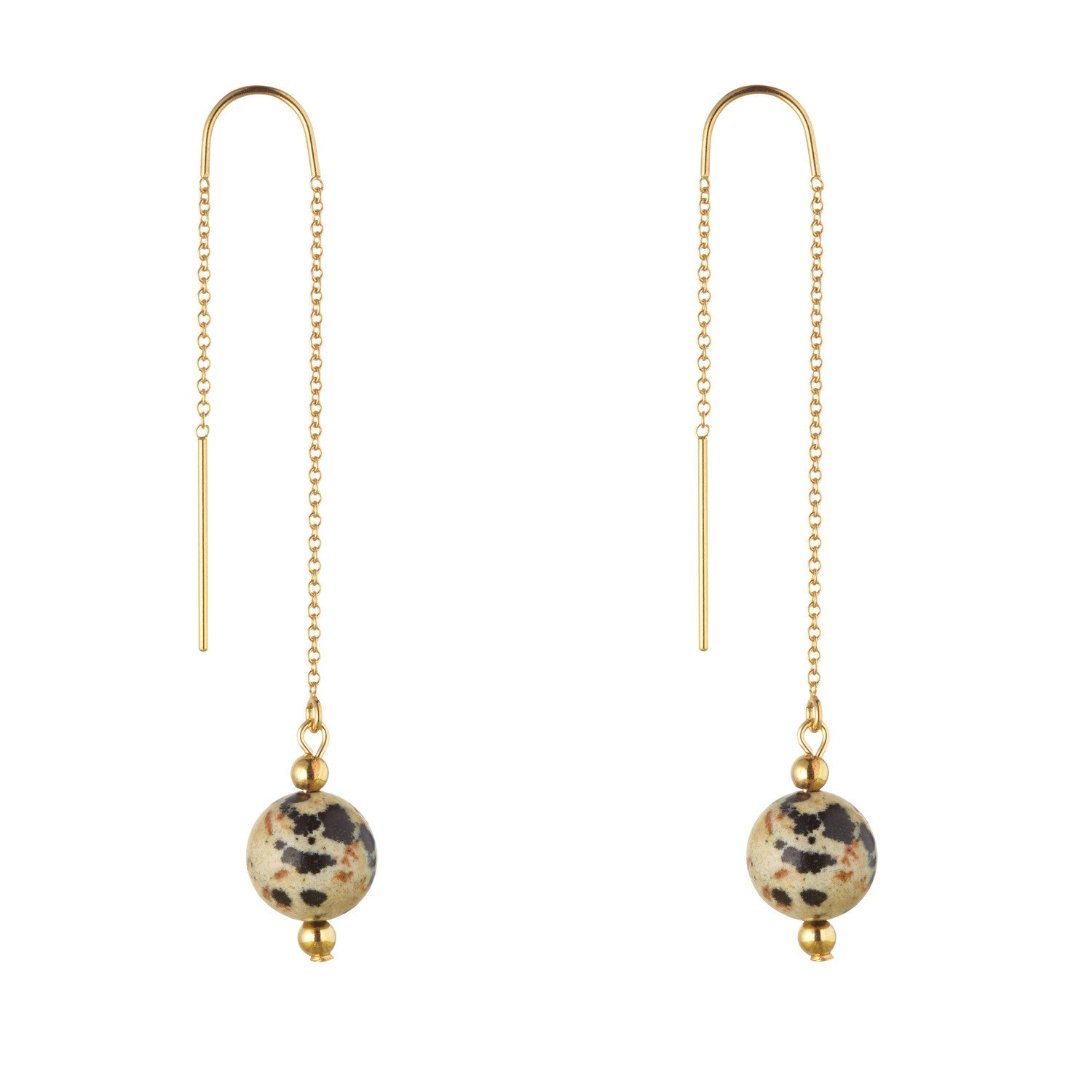 14kt Gold Filled Dalmatian Jasper Threader Earrings - MoMuse Jewellery