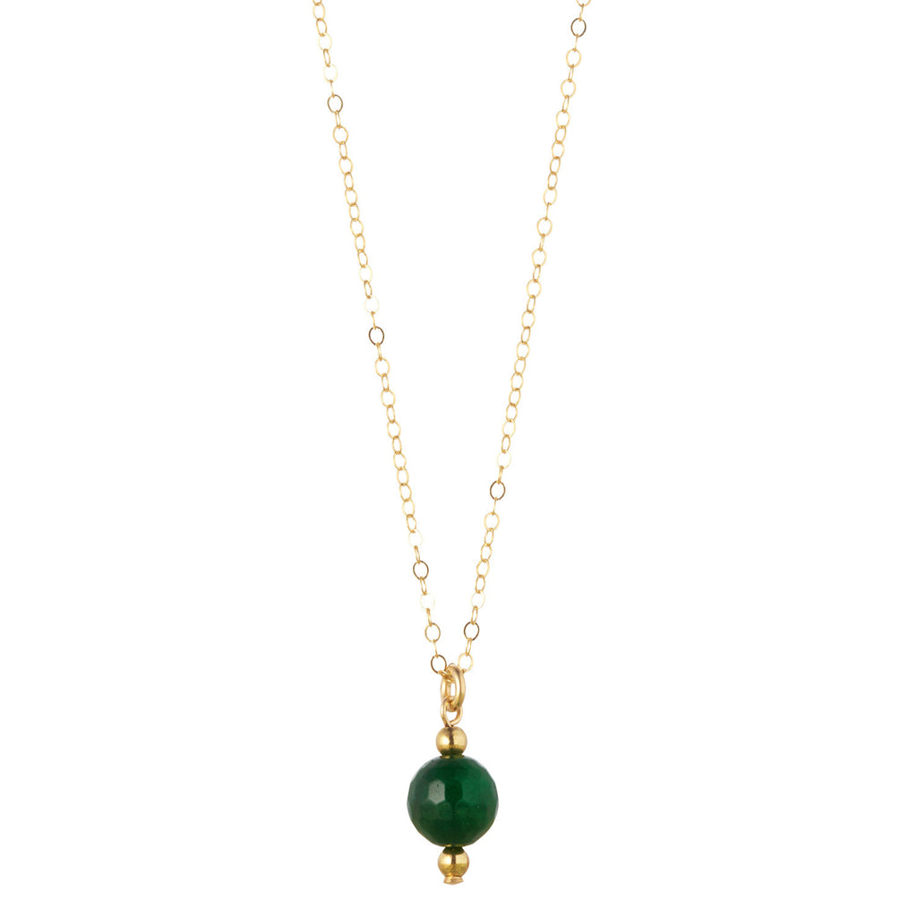 14kt Gold Filled Petite Green Agate Necklace - MoMuse Jewellery