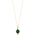 Load image into Gallery viewer, 14kt Gold Filled Petite Green Agate Necklace - MoMuse Jewellery