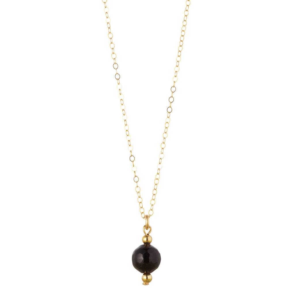 14kt Gold Filled Petite Black Onyx Necklace - MoMuse Jewellery