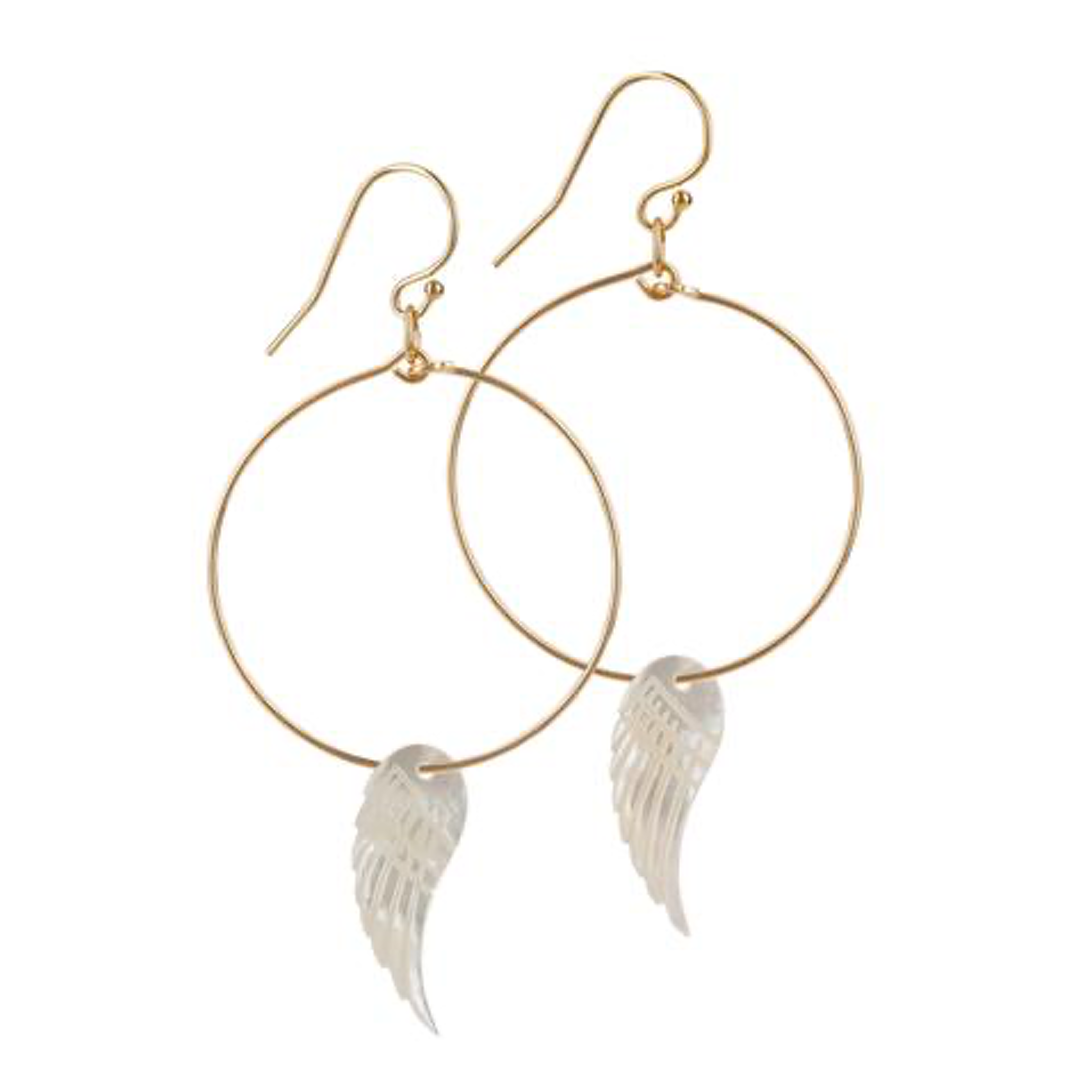 14kt Gold Filled Mother of Pearl Angel Wings Small Hoops