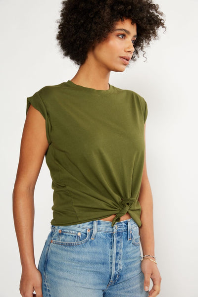 Ética - Gemma Organic Cotton Tie Front Tee - Forest Night
