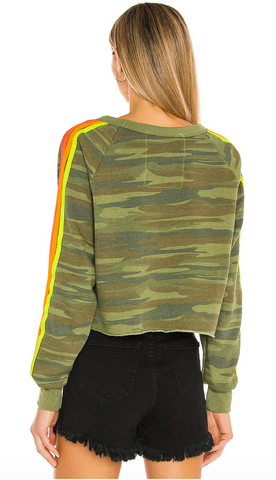 Aviator Nation Bolt Print Cropped Sweatshirt
