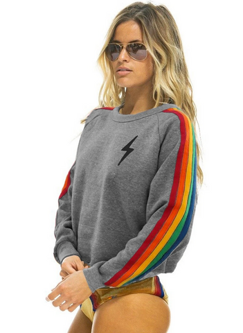 Aviator Nation Bolt Cropped Sweatshirt - Rainbow