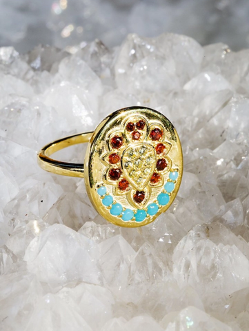 Sacred Garnet and Turquoise Ring
