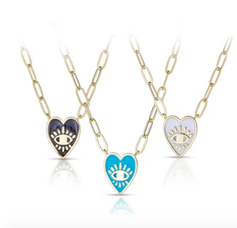Enamel Heart Paper Clip Necklace