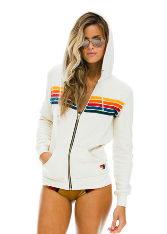 Aviator Nation 5 Stripe Hoodie Vintage White