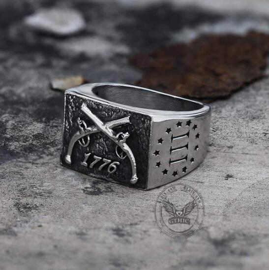 1776 CROSSED GUNS STAINLESS STEEL RING - Gthic.com - Blog