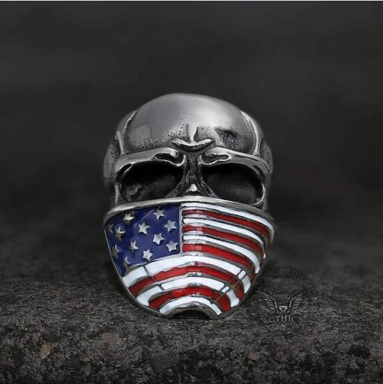 AMERICAN FLAG STAINLESS STEEL SKULL RING - Gthic.com - Blog