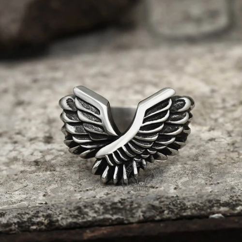 Angel Wing Stainless Steel Beast Ring - Gthic.com - Blog