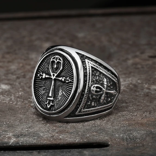 Ankh Key Of Life Stainless Steel Egyptian Ring - Gthic.com - Blog