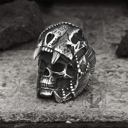 Aztec Jaguar Warrior Skull Ring - Gthic.com - Blog