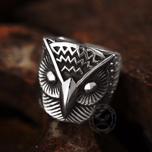 Carved Owl Stainless Steel Animal Ring - Gthic.com - Blog