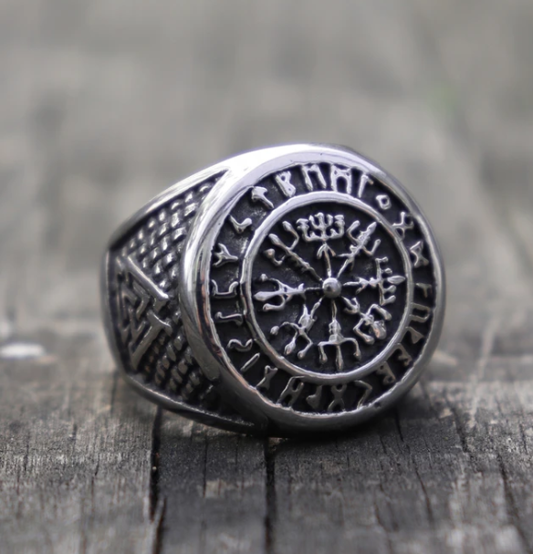 Celctic Knot Compass Runic Viking Ring - Gthic.com