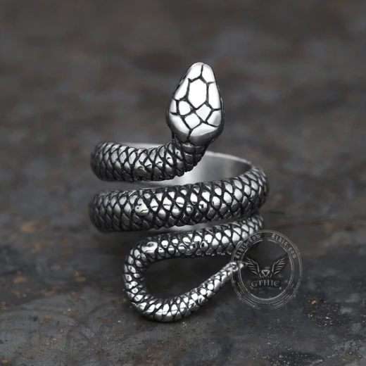 Coiled Snake Stainless Steel Ring02 - Gthic.com - Blog