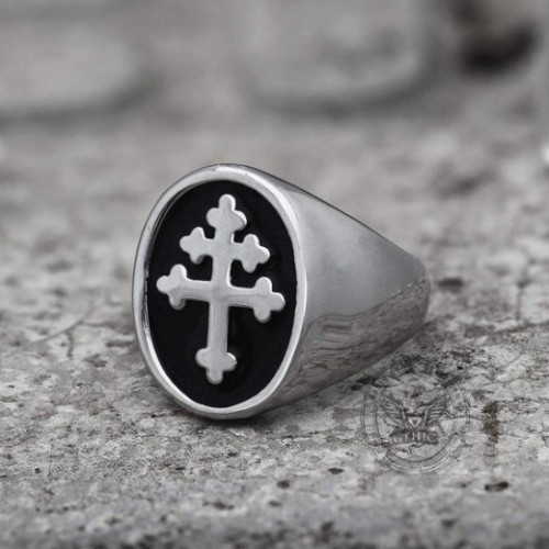 Cross Of Lorraine Stainless Steel Masonic Ring - Gthic.com - Blog