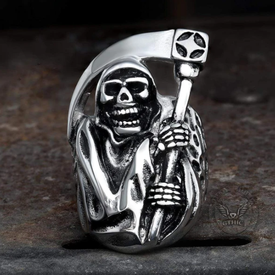 DEATH SICKLE STAINLESS STEEL SKULL RING - Gthic.com - Blog