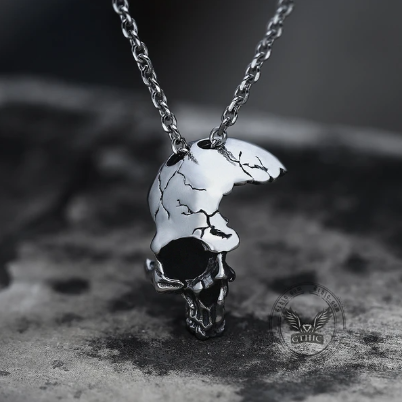 Damaged Half Face Skull Pendant - Gthic.com - Blog