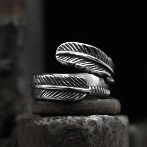 Feather Stainless Steel Ring - Gthic.com - Blog