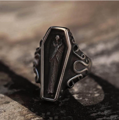 Funeral Vampire Coffin Stainless Steel Gemstone Ring - Gthic.com - Blog