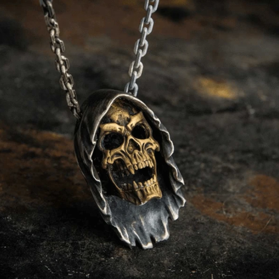 GRIM REAPER STERLING SILVER BIKER NECKLACE - Gthic.com - Blog