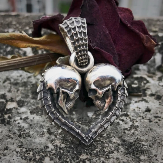 Heart Shaped Skull Sterling Silver Pendant - Gthic.com - Blog