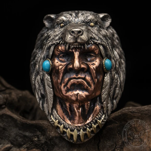 Indian Warrior Wolf Head Sterling Silver Ring - Gthic.com - Blog