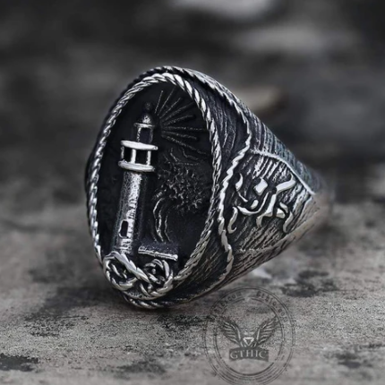 Lighthouse Hourglass Stainless Steel Marine Ring - Gthic.com - Blog