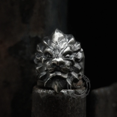 Lion Head Sterling Silver Beast Ring - Gthic.com - Blog