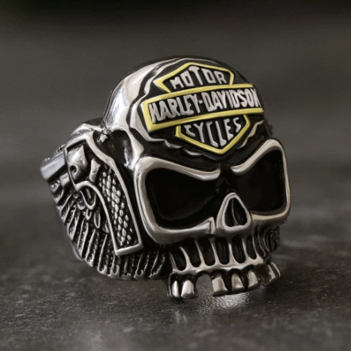 MEN'S BIKER STAINLESS STEEL SKULL RING - Gthic.com - Blog