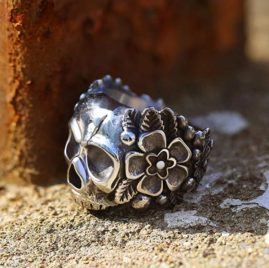 Mexican Flower Sugar Stainless Steel Skull Ring - Gthic.com - Blog