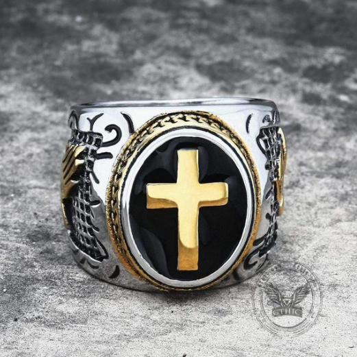 Retro Cross Stainless Steel Religious Ring - Gthic.com - Blog