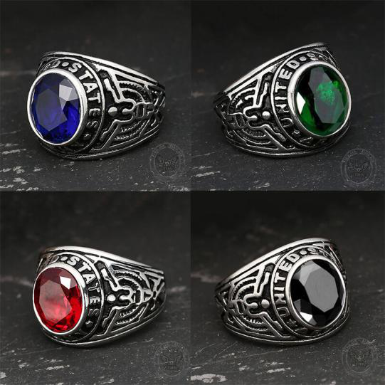 Retro United States Army Eagle Stainless Steel Cz Ring - Gthic.com - Blog