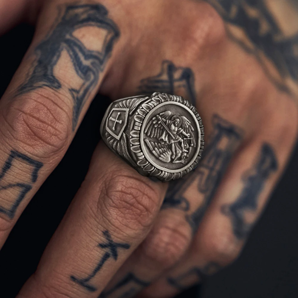 SAINT MICHAEL STAINLESS STEEL MEN'S RING - Gthic.com - Blog