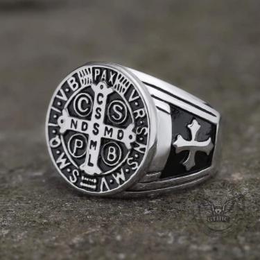 St. Benedict Stainless Steel Cross Ring - Gthic.com - Blog