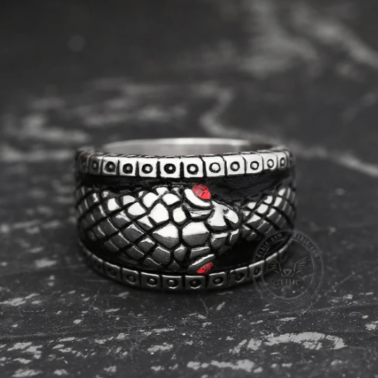 Stainless Steel Ouroboros Ring - Gthic.com - Blog