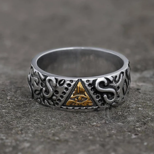Triangle Eye of Providence Stainless Steel Masonic Ring - Gthic.com - Blog