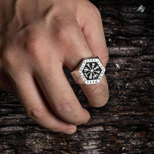 Valknut Compass Stainless Steel Viking Ring- Gthic.com - Blog