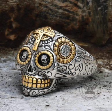 Vintage Cross Sugar Skull Ring - Gthic.com - Blog