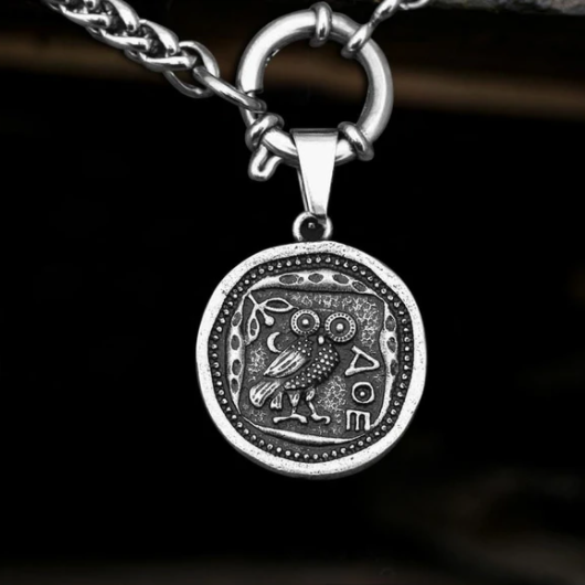 Vintage Owl Stainless Steel Coin Necklace - Gthic.com - Blog