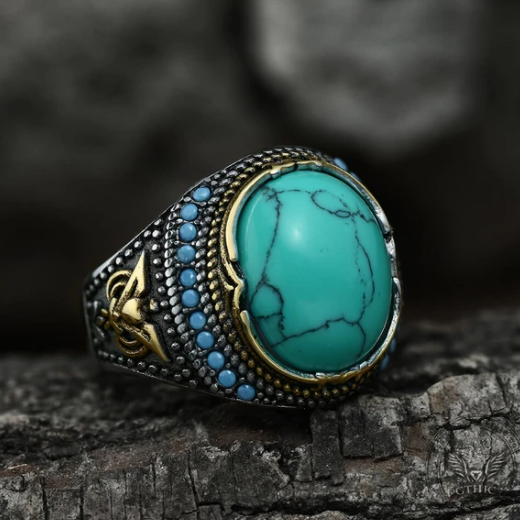 Vintage Pattern Turquoise Stainless Steel Ring - Gthic.com - Blog