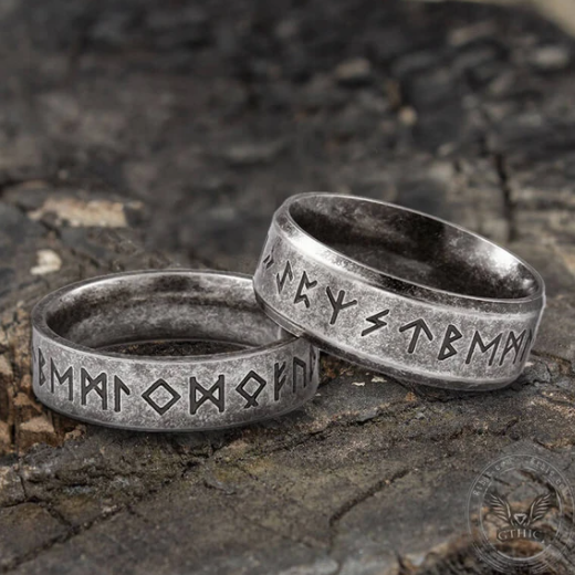 Vintage Viking Runes Stainless Steel Ring - Gthic.com - Blog