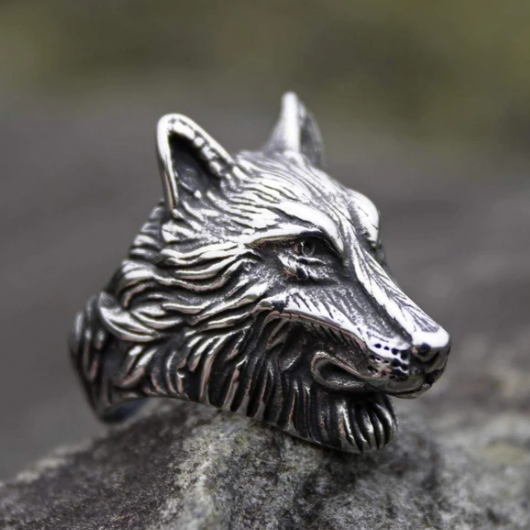Wild Wolf Stainless Steel Viking Ring- Gthic.com - Blog