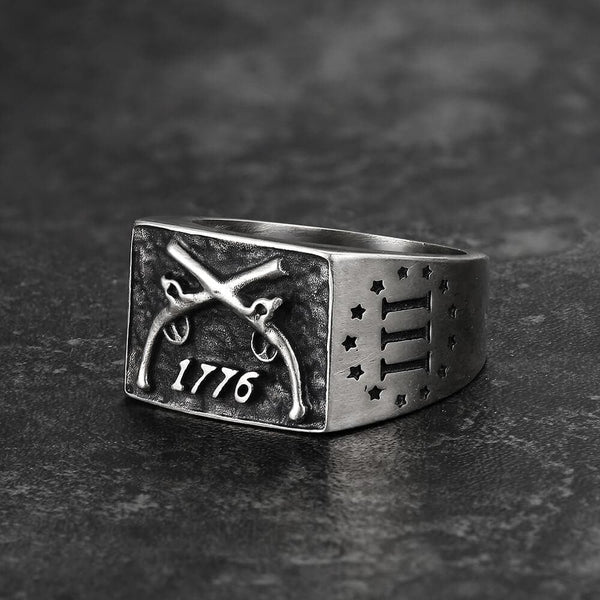 1776 Crossed Guns Sterling Silver Ring