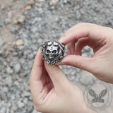 Gothic Vine Stainless Steel Skull Ring