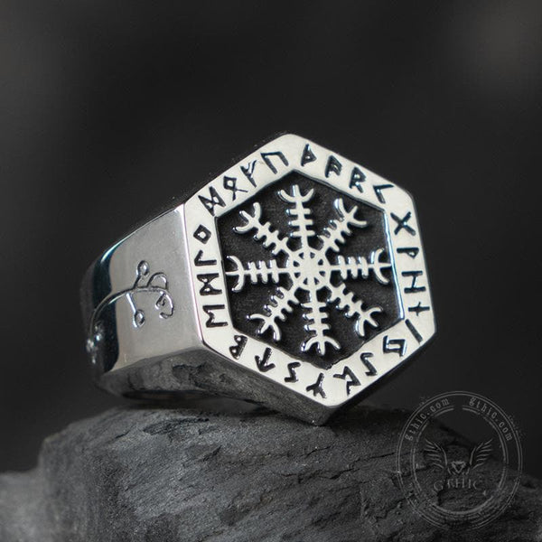 Ægishjálmr Stainless Steel Viking Ring
