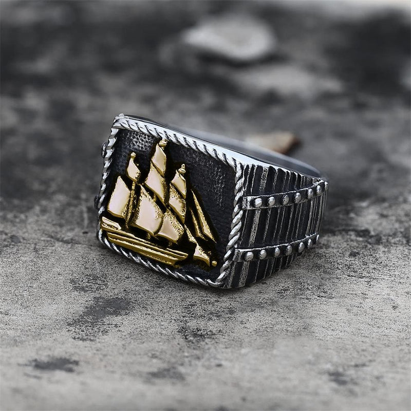 Barque Sailing Ship Stainless Steel Marine Ring