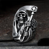 Death Sickle Stainless Steel Skull Ring | Gthic.com