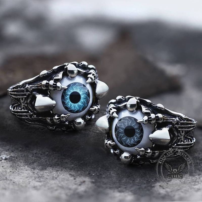 Greek Evil Eye Stainless Steel Skull Ring | Gthic.com