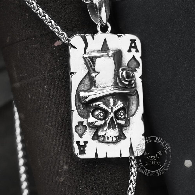 Ace of Spades Stainless Steel Skull Pendant